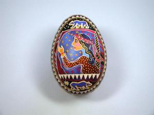 Elaine Cole Dillingham created this Ukrainian style pysanka (batik on a goose egg) for the cover art of House of Bears